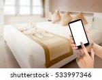 woman hands using smartphone... | Shutterstock . vector #533997346