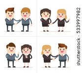 business people giving shaking... | Shutterstock .eps vector #533997982