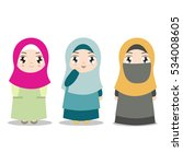 young muslim girls with... | Shutterstock .eps vector #534008605