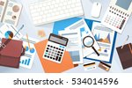 workplace desk documents papers ...   Shutterstock .eps vector #534014596