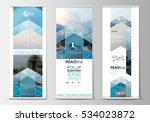 roll up banner stands  flat... | Shutterstock .eps vector #534023872