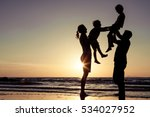 silhouette of happy family who... | Shutterstock . vector #534027952