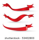 red ribbons  vector...