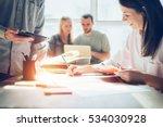 joyful team brainstorming. new... | Shutterstock . vector #534030928