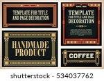 vintage frame design for labels ... | Shutterstock .eps vector #534037762