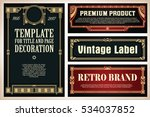 vintage frame design for labels ... | Shutterstock .eps vector #534037852