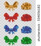 set of colour ribbon satin bows ... | Shutterstock .eps vector #534056182