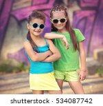 portrait of happy fashion... | Shutterstock . vector #534087742