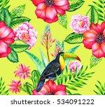 seamless vintage botanical... | Shutterstock . vector #534091222