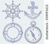 nautical symbols. blue vector... | Shutterstock .eps vector #534091612