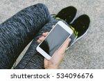 jogger using smart phone ... | Shutterstock . vector #534096676