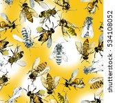 bees. honey pattern. watercolor.... | Shutterstock . vector #534108052