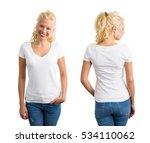 woman in white v neck t shirt  | Shutterstock . vector #534110062