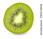 kiwi cut isolated on white... | Shutterstock . vector #534113026