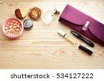 cosmetics on wooden table | Shutterstock . vector #534127222