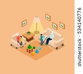 grandparents babysitting... | Shutterstock . vector #534140776