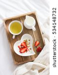 romantic breakfast in bed. ... | Shutterstock . vector #534148732