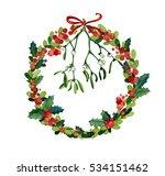 watercolor christmas wreath... | Shutterstock . vector #534151462