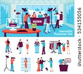 journalist and pressmen  set... | Shutterstock . vector #534155056