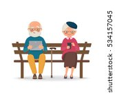 elderly couple sitting on a...   Shutterstock .eps vector #534157045