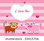 monkey love pig | Shutterstock .eps vector #53415706