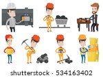 miner in hard hat working with... | Shutterstock .eps vector #534163402