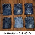 Row Of Six Blue Denim Jean   ...