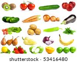 set of fruits and vegetables... | Shutterstock . vector #53416480