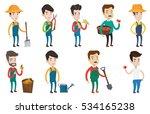 caucasian farmer holding basket ... | Shutterstock .eps vector #534165238