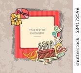 photo frame on vintage... | Shutterstock .eps vector #534173596