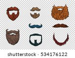 stylish beard and moustache set ... | Shutterstock . vector #534176122