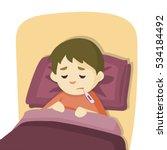sick child boy lying in bed... | Shutterstock .eps vector #534184492