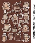 hand drawn coffee colorful... | Shutterstock .eps vector #534188962