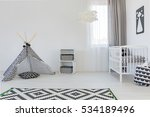 light baby room with white cot  ... | Shutterstock . vector #534189496