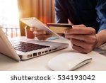 man hands using laptop and... | Shutterstock . vector #534193042