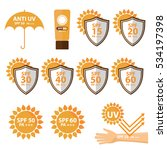 set of uv sun protection and... | Shutterstock .eps vector #534197398
