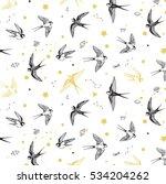 swallow bird vector pattern | Shutterstock .eps vector #534204262
