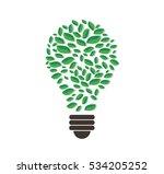 green leafs in light bulb shape ... | Shutterstock .eps vector #534205252