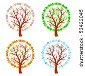 abstract trees   four seasons | Shutterstock .eps vector #53422045