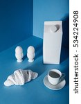 white pack of milk  eggs ... | Shutterstock . vector #534224908