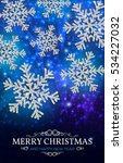 christmas banner with glowing... | Shutterstock .eps vector #534227032