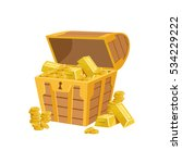 half open pirate chest with... | Shutterstock .eps vector #534229222