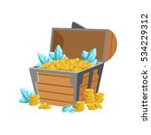 half open pirate chest with... | Shutterstock .eps vector #534229312