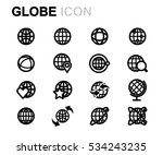 vector line globe icons set on... | Shutterstock .eps vector #534243235
