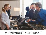 Stock photo attractive woman registering on arrival in hotel 534243652