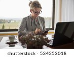 a middle aged woman working... | Shutterstock . vector #534253018