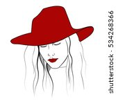 young woman portrait in the red ... | Shutterstock .eps vector #534268366