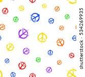 Pacifist Peace Symbols Pattern. ...