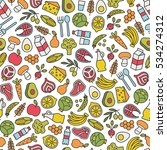 seamless pattern with healthy... | Shutterstock .eps vector #534274312