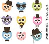 set of cartoon hipster cats... | Shutterstock . vector #534282076